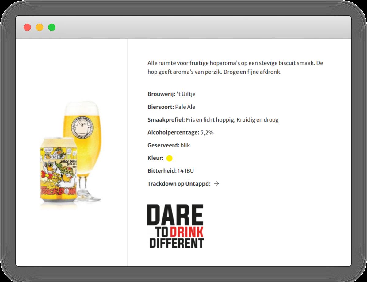 screenshot trackdown bier op bierkaart